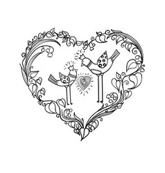 two love birds with heart floral ornament love vector image