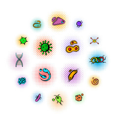 virus icons set comics style vector image