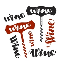 Wine corkscrew symbol Winery icons vector image
