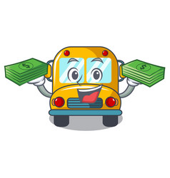 with money bag school bus mascot cartoon vector image