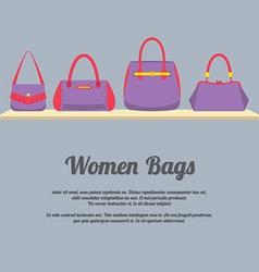 Women Handbags Display On Shelf vector image vector image