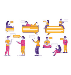 Youth audience actively communicates in messenger vector