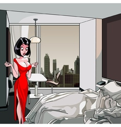 cartoon surprised woman is standing in the bedroom vector image vector image