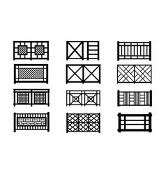 fences wooden icons vector image vector image