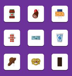 flat icon food set of confection ketchup yogurt vector image vector image