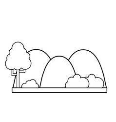 line countains with tree and ecology landscape vector image