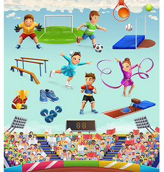 Sport funny characters and objects icon set vector image vector image