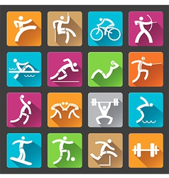Sport icons long shadows vector image vector image