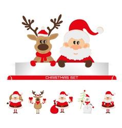 christmas set santa claus reindeer snowman vector image