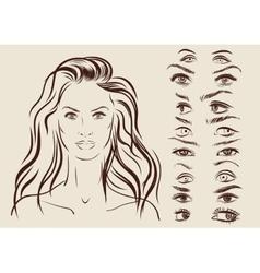 eyes set girl character woman portrait on vector image