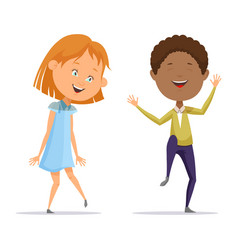 girl and afro american boy dancing with music vector image vector image