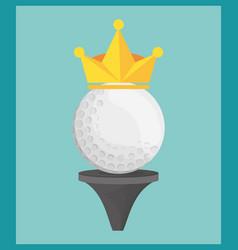 golf ball on tee crown vector image vector image