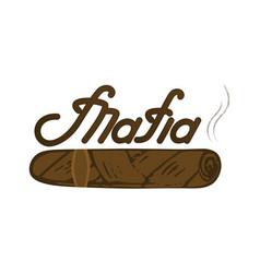 mafia logo lettering kuban cigar vector image vector image