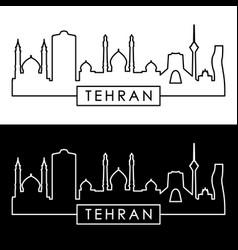 tehran skyline linear style editable file vector image vector image