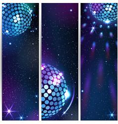 Three vertical disco backgrounds vector