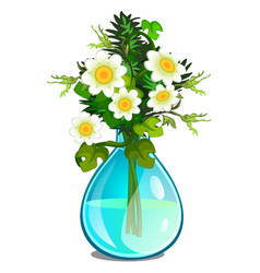 bouquet of white daisies in glass vase vector image vector image