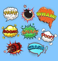 comic speech bubbles sound effects vector image vector image