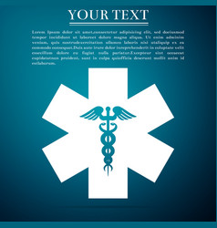 emergency star - medical caduceus snake with stick vector image