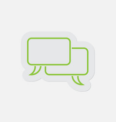 simple green icon two outline speech bubbles vector image
