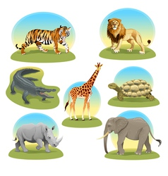 African animals with graphic backgrounds vector image