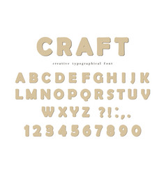 craft typographical font cardboard abc letters vector image