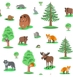 cute forest animals seamless background pattern vector image