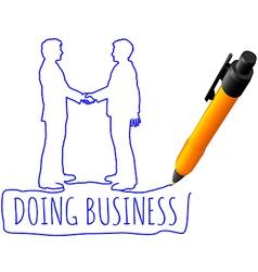 Drawing business people handshake deal vector
