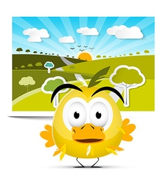 Funny Yellow Chicken on Field Landscape Picture vector image