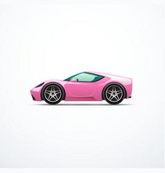 pink cartoon sport car side view vector image