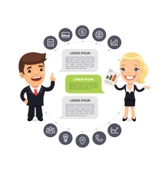 Speaking Businessmen Infographic with Icons vector image vector image