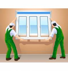 workers and plastic window vector image vector image