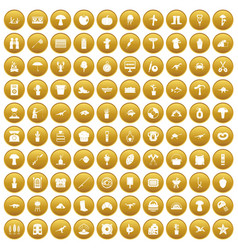 100 hobby icons set gold vector
