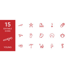 15 young icons vector image