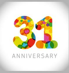 31 years anniversary circle colorful logo vector