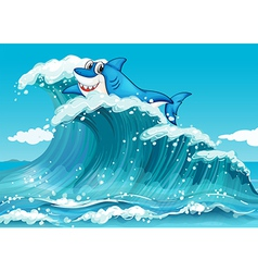 A shark above the big waves vector