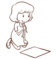 A simple girl writing vector