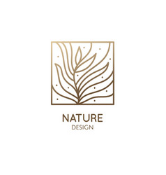 Abstract tropic plant minimal logo vector