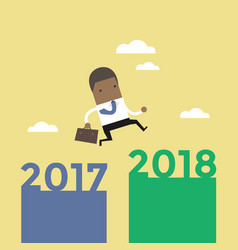 African businessman jump from 2017 to 2018 vector