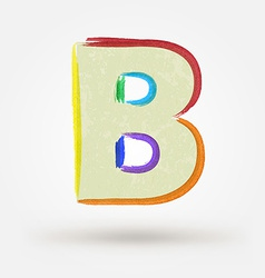 Alphabet letter B Watercolor paint design element vector
