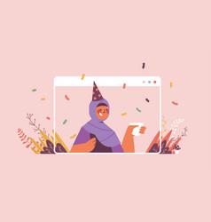 Arabic woman in festive hat celebrating online vector
