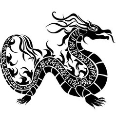 Asian dragon black stencil vector image