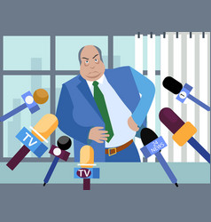 bad politician corrupt official gives interviews vector image