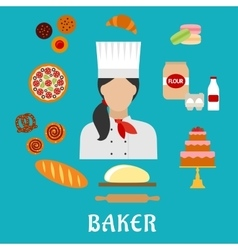 Baker profession and pastries flat icons vector image
