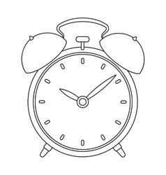 Bedside clock icon in outline style isolated on vector