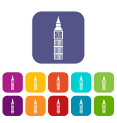 Big ben clock icons set vector