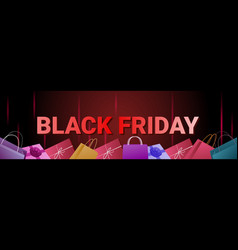 black friday sale banner with shopping bags on vector image