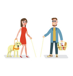 blind man and woman vector image