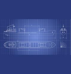 Blueprint cargo ship on a white background vector