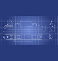 Blueprint of cargo ship on a white background vector