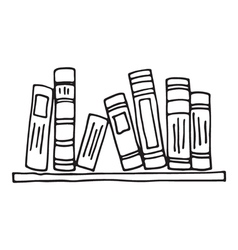 Books on the shelf isolated vector